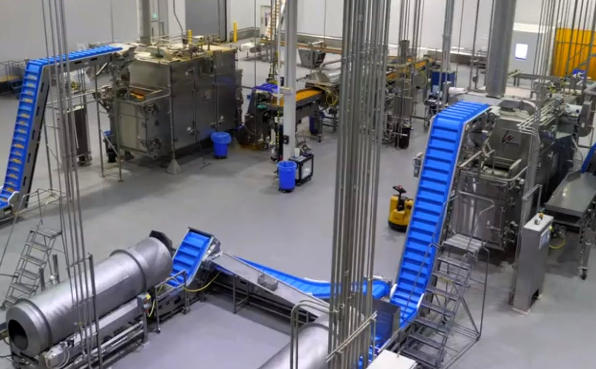 Intralox's new ThermoDrive® belts in polyurethane A23 material can help you significantly extend belt life along snack incline-to-packaging conveyors.