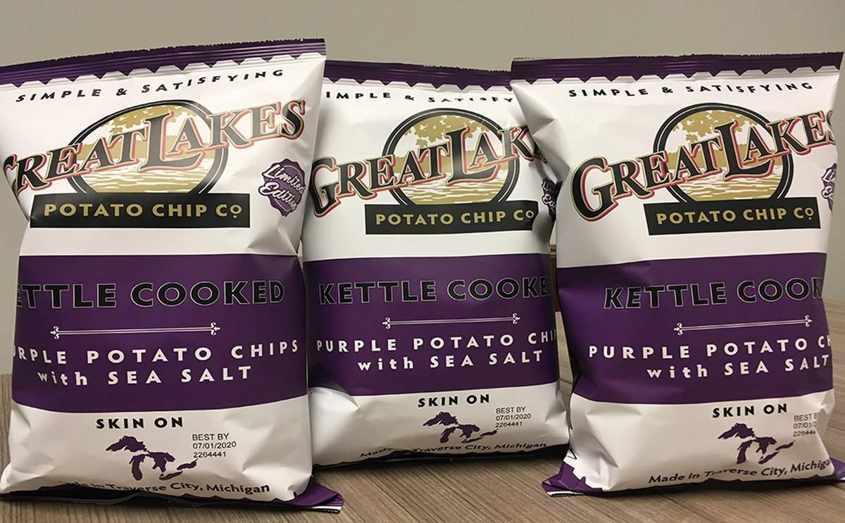 Great Lakes Potato Chip Co offers Purple Blackberry potato chips for its 10 year anniversary