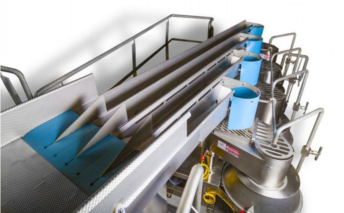 FastBack FastLane slicer infeed conveyor offers chips manufacturers safe, easy and effective singulation of potatoes before cutting