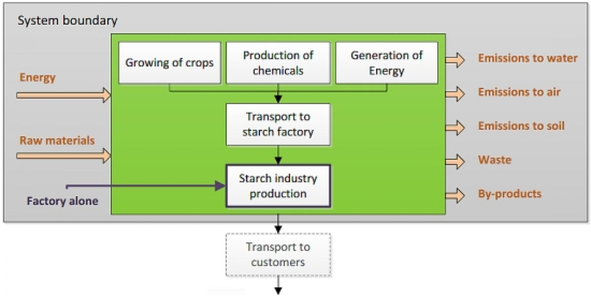 System boundaries life cycle assessment starch industry: cradle to gate